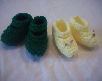 Knitted Newborn Mary Jane Baby Girl Booties