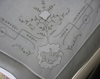 Hand Embroidered Sheet 1920s Elegant Hemstitched Fine Cotton Vintage Wedding Trousseau Bed Linen