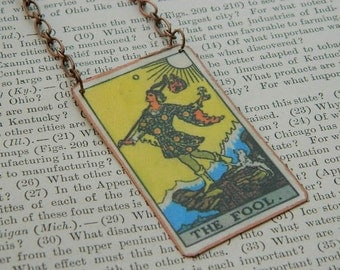 Tarot card necklace or pendant tarot jewelry The Fool mixed media jewelry supernatural