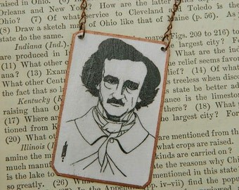 Edgar Allan Poe necklace Beardsley necklace  Aubrey Beardsley jewelry mixed media jewelry