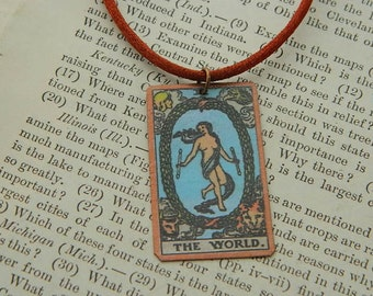 Tarot pendant tarot jewelry The World  mixed media jewelry