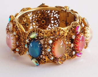 Chunky Rhinestone Art Glass Clamper Cuff Bracelet