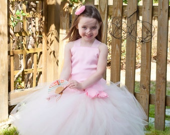 Flower Girl Tutu Dress Floor Length Sewn Tutu Dress in Pink and Ivory  Satin Corset and Flower Hair Clip CUSTOMIZABLE