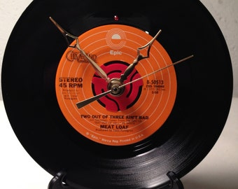 """Recycled MEAT LOAF 7"""" Record / Two Out Of Three Ain't Bad / Record Clock"""