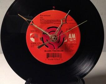 "Recycled BLUES TRAVELER 7"" Record / Run-around / Record Clock"
