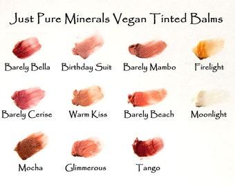 3 SAMPLES Vegan, Natural Tinted Lip Balm - any shade