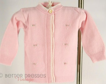 Vintage 1960s Baby Cardigan in Pink with Rosebud Embroidery