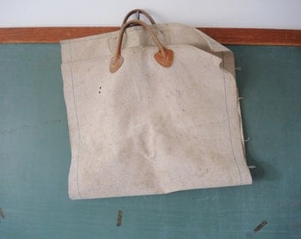 vintage LL Bean canvas log carrier a wood pile helper firewood bag camping camper hearth