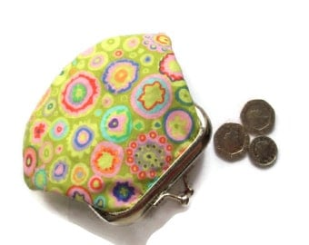 Small Retro Circles Fabric Change Purse - Coin Purse - Change Wallet -  UK Seller