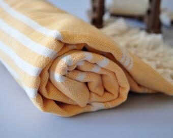 Turkish Bath Towel - Handwoven Cotton Peshtemal - Orange