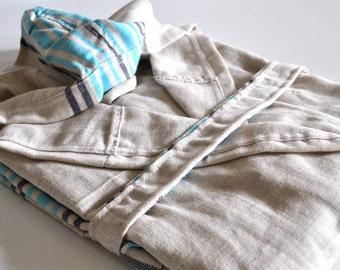 Peshtemal Robe Linen Cotton mixed Natural Linen Turquoise striped