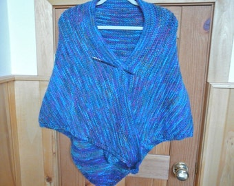 Turquoise and Bright Tweed Triangle Shawl