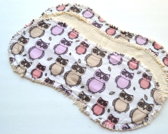 Baby girl burp cloth set of 3 : Flannel, Contoured, Baby burpcloths, Burp rags, burpclothes, burprags, owls, leaves, lilac, purple