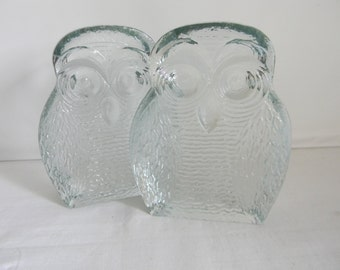 Vintage Blenko Glass Owl Bookends Marine Crystal