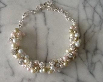 Blush, White, Ivory Rhinestone Statement Necklace, Bridesmaid Necklace,Blush Wedding Necklace