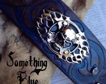 Leather Cuff, Biker Bracelet, Biker Cuff, Badass Jewelry, Biker Wedding, Blue