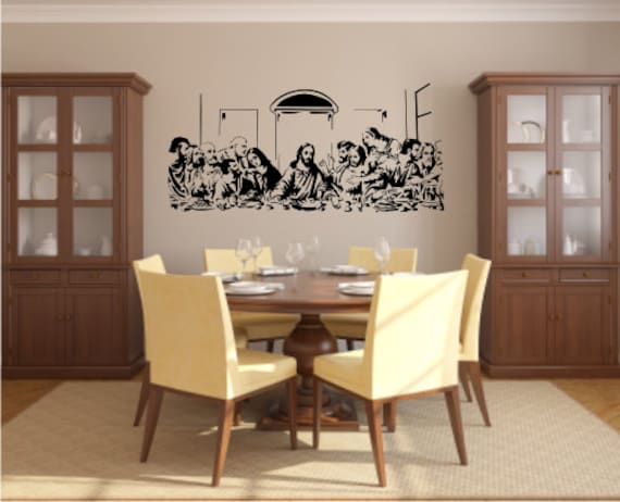 """Last Supper Wall Decor items similar to the last supper - 14"""" h x 28"""" w - vinyl wall"""