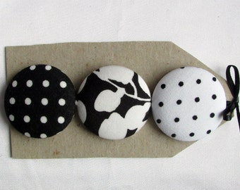 big black and white buttons,  3 1 1/2 in fabric covered buttons