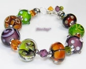 Vineyard Harvest - Artisan Lampwork Bracelet - Olive, Purple, Brown Lux