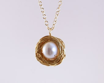Gold Bird Nest Necklace with Single White Pearl Egg