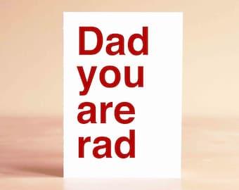 Father's Day Card - Funny Father's Day Card - Funny Dad Card - Dad Birthday Card - Dad Card - Dad you are rad