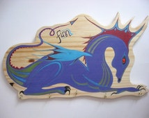 Children's Personalised Coat Hook, Hand Painted Wooden Coat Pegs with Dragon Design, Coat Rack