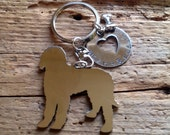 NEW Labradoodle Goldendoodle Custom Keychain. Chocolate Doodle.  Personalized.  Your dogs name. Dog Jewelry.