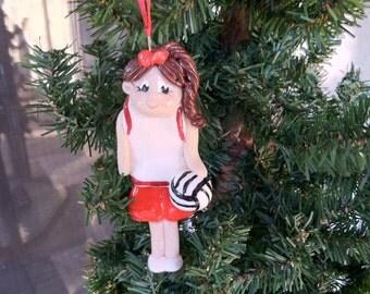 Handcraftd Polymer Clay Girl Volleyball Ornament