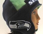 seahawks,Seattle Seahhawks, earflap hat, reversible, blue, green