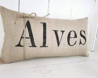 Burlap name pillow ,custom pillow,personalized, shabby chic, farmhouse, name pillow, wedding gift, rustic burlap pillow,  wedding pillow