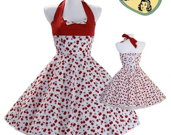 50's vintage dress white dark red cherries Tailor Made after your measurements #0022
