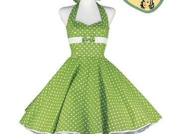 50's vintage dress light green white polka dots embellished back Tailor Made after your measurements #0065