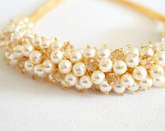 Necklace, Cream Pearls Gold Crystals, Swarovski Beaded Bridal Wedding Necklace, Statement Necklace