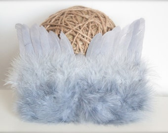 Baby Boy or Girl Grey Feathered Angel Wings - Perfect Newborn or Maternity Photo Prop