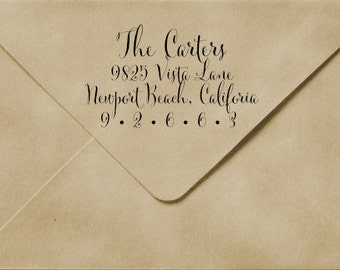 Whimsical Calligraphy Wood Address Stamp or Clear Address Labels
