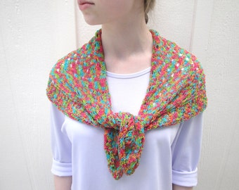 Knitted Scarf or Shoulder Shawl, Bright Jewel Tones, Shoulder Wrap, Cotton Knit, Headwrap Kerchief