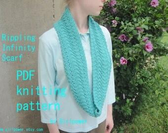 Rippling Infinity Scarf PDF Knitting Pattern, Easy Knit, Eternity Cowl Circle Loop Scarf