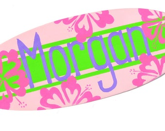 Custom Surfer Girl Decor,  Surfboard Wall Hanging,  Surf Girl Bedroom Decor, Baby Girl Surf Decor, Surfer Girl Wall Decor,  Teen Girls Decor
