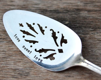 love sweet love - Cake Dessert Server - Silverplate cake server - recycled