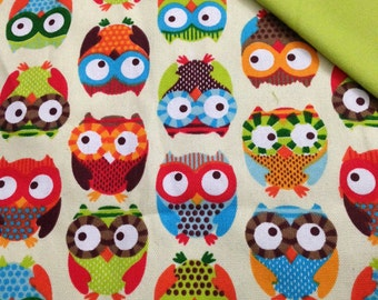 Wrap conversion mei tai from Funny Owls Printed Canvas and Colimacon green wrap.