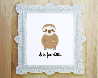 S is for Sloth woodland jungle exotic animal alphabet nursery portrait illustration 8x10 5x7