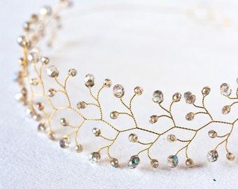 11 Gold crystal crown, Iridescent crystal crown, Wedding hair accessories, Hair piece wedding, Bridal crown, Crowns and tiaras, Head piece