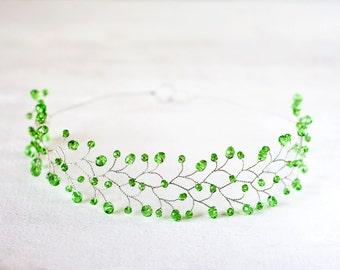 11_Green crystal crown, Crystal headband, Green wedding, Hair accessories, Lime hair accessories, Crown, Tiara, Lime wedding, Crystal halo