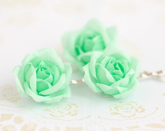 71_Mint hair accessories, Mint flower, Green hair flower, Floral pins, Bridal hair flower, Bridal hair flower, Mint flower hair, accessory