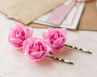 71_Pink flower bobby pin, Bobby pin rose, Bridal pin, Wedding bobby pin, Hair rose pin, Wedding pink, Silk flower pins, Bobby pin bride.