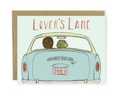 Love Card - Lover's Lane - Anniversary Card, Valentine Card, Illustrated Card, Couple Card, Vintage Car, Vintage, Nostalgic card