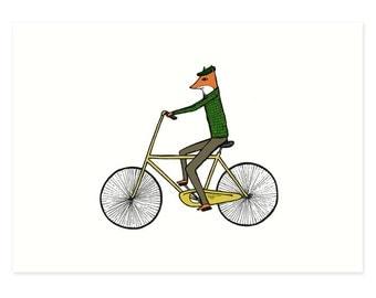 Fox on Bike Illustration Print - Mr. Fox on a Bicycle, Bicycle Print, Illustration Print