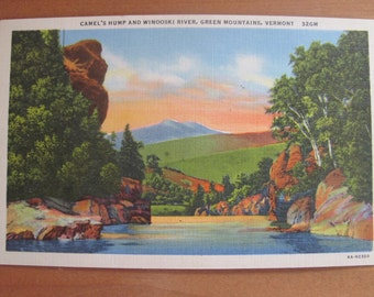 Five Vintage Linen Postcards - Camel's Hump and Winooski River Green Mountains, Vermont - MINT