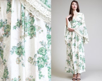 Vintage BELL Sleeves GAUZE Floral Lace Maxi Dress //