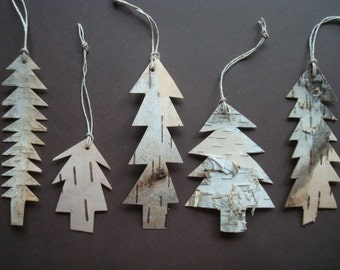 Birch Bark Tree ornament simple eco rustic cottage decoration OOAK set of 6 FREE shipping in USA